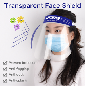 Plastic Face Shield Visors Protect Eyes and Face with Protective Clear Film Elastic Band and Comfort Sponge