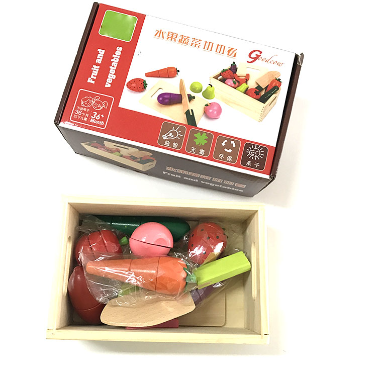 ABwt07 Colorful Fruit and Vegetable Wooden Cutting Puzzle Toy